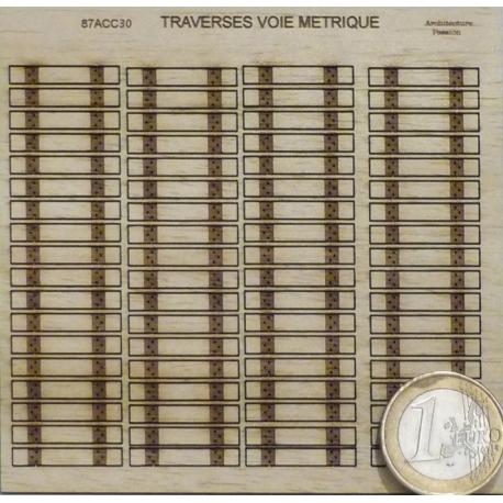 Ensemble 72 traverses neuves en bois voie métrique (-HO-)