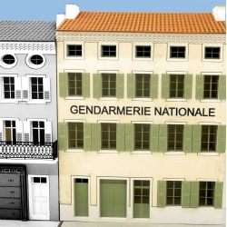 "IMMEUBLE DE VILLAGE POUR FOND DE DECOR ""GENDARMERIE NATIONALE"" -COTE SUD- (-HO-)"
