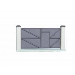 Portail métallique plein gris (-HO-)